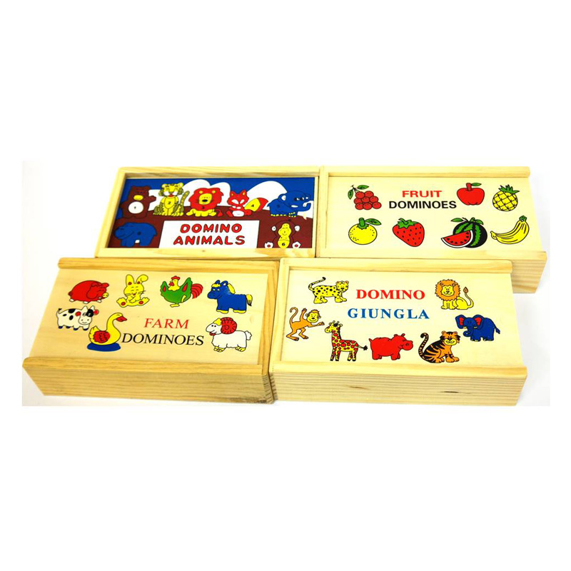 92 – Large Wood Dominos 4 Des Jungle, Farm, Animals, Fruit