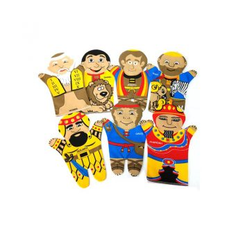244 – Printed Puppets Bible Characters Set Of 7 Moses/10Commandments/Noah..