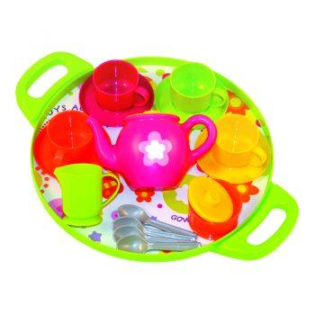 418 – Gowi Tea Set On Round Tray (Green)
