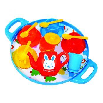 418 – Gowi Tea Set On Round Tray (Blue)