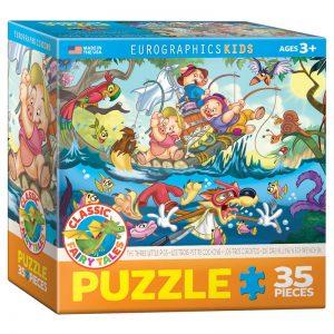 176 – 35pce Classic Fairy Tales Puzzle (6 Des) 6035-0423 3 Little Pigs