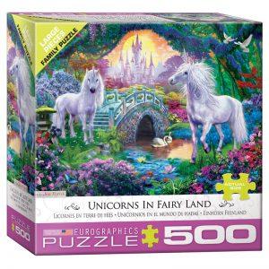 178 – 500pce Oversized Family Puzzles (4 Des) 8500-5363 Unicorns In Fairy Land