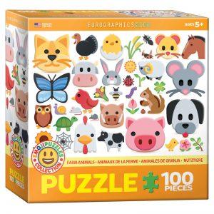175b 100pce Puzzle 6100-5379 Emojis Farm Animals